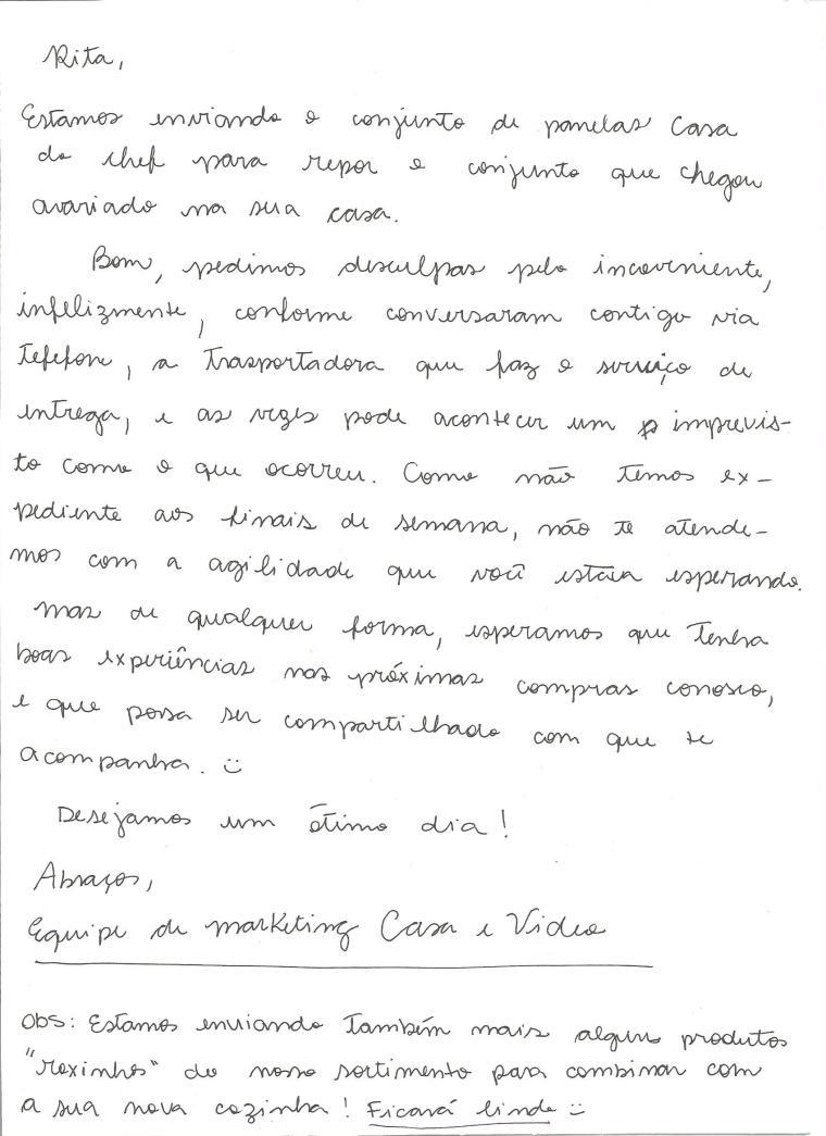 carta de desculpa casa e video